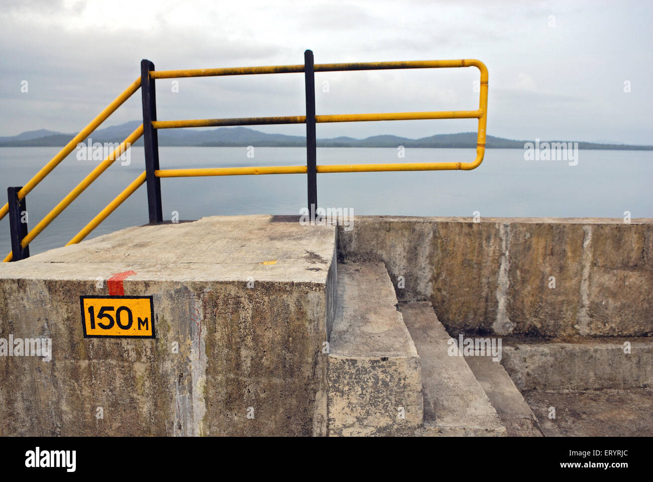 Water level number on dam of tansa lake ; Bombay Mumbai ; Maharashtra ; India 10 September 2009 - Stock Image
