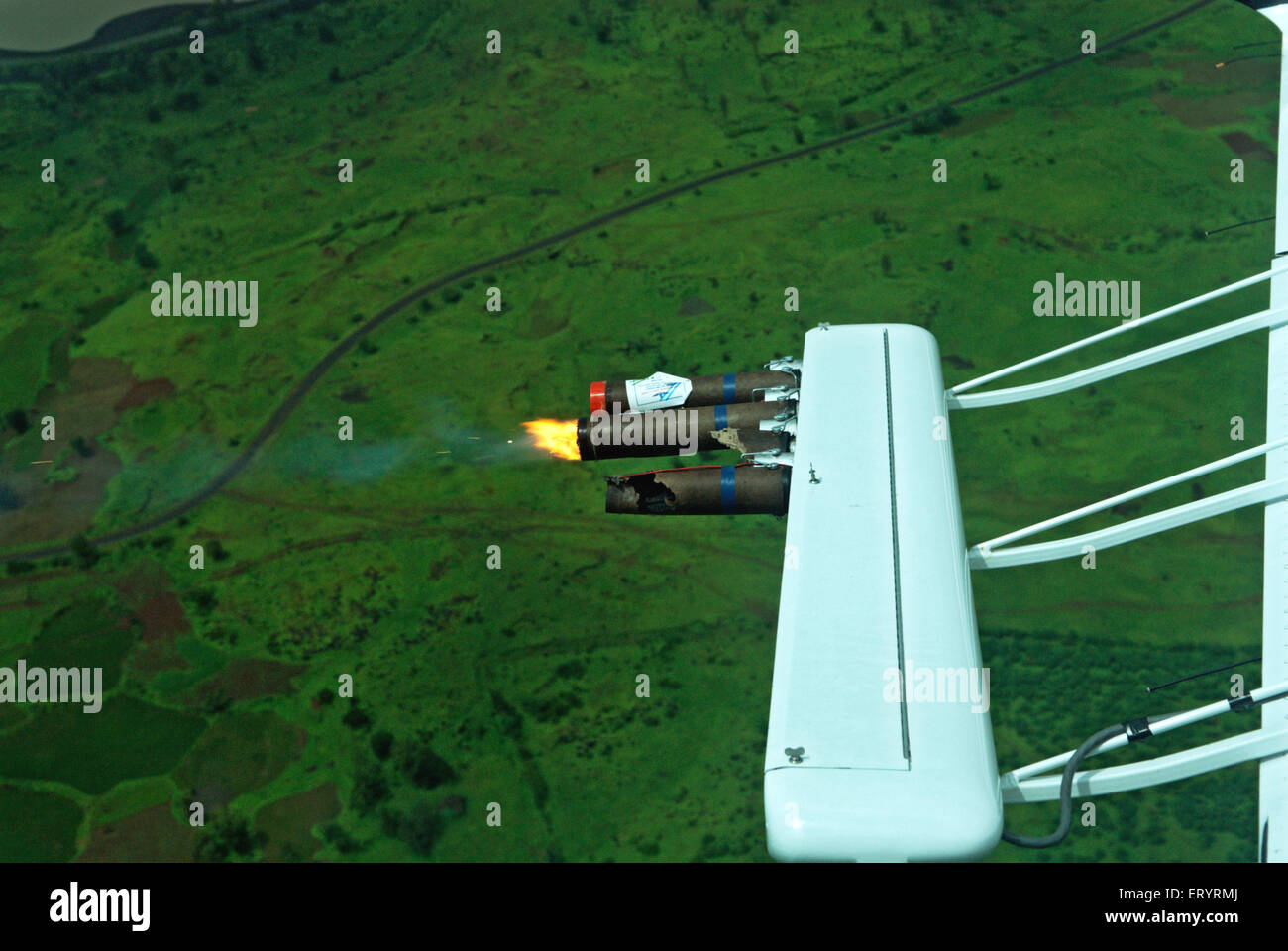 Cloud seeding by piper aircraft ; Nashik ; Maharashtra ; India - Stock Image