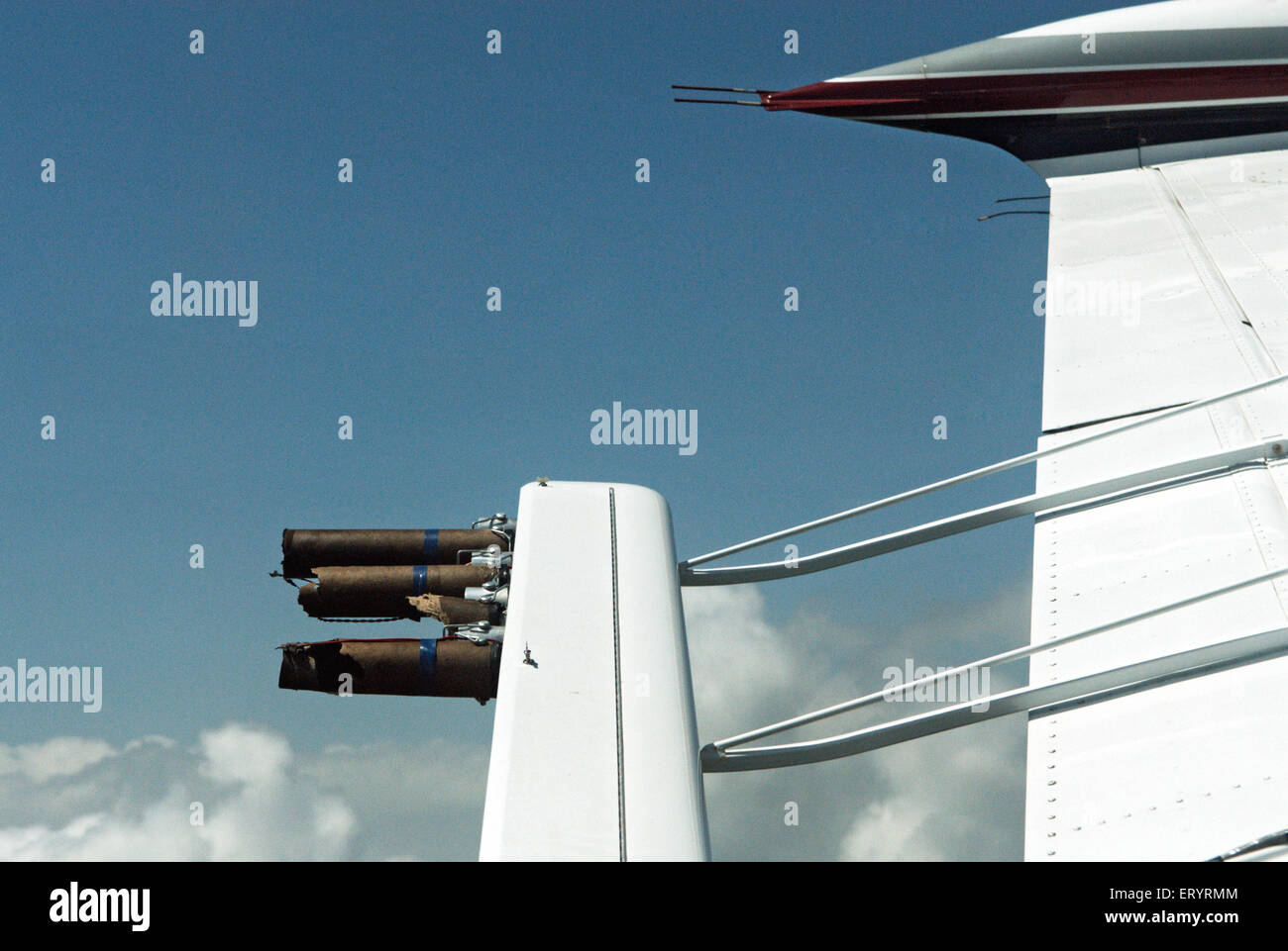 Flaring boosters fitted on wings of piper aircraft ; India - Stock Image