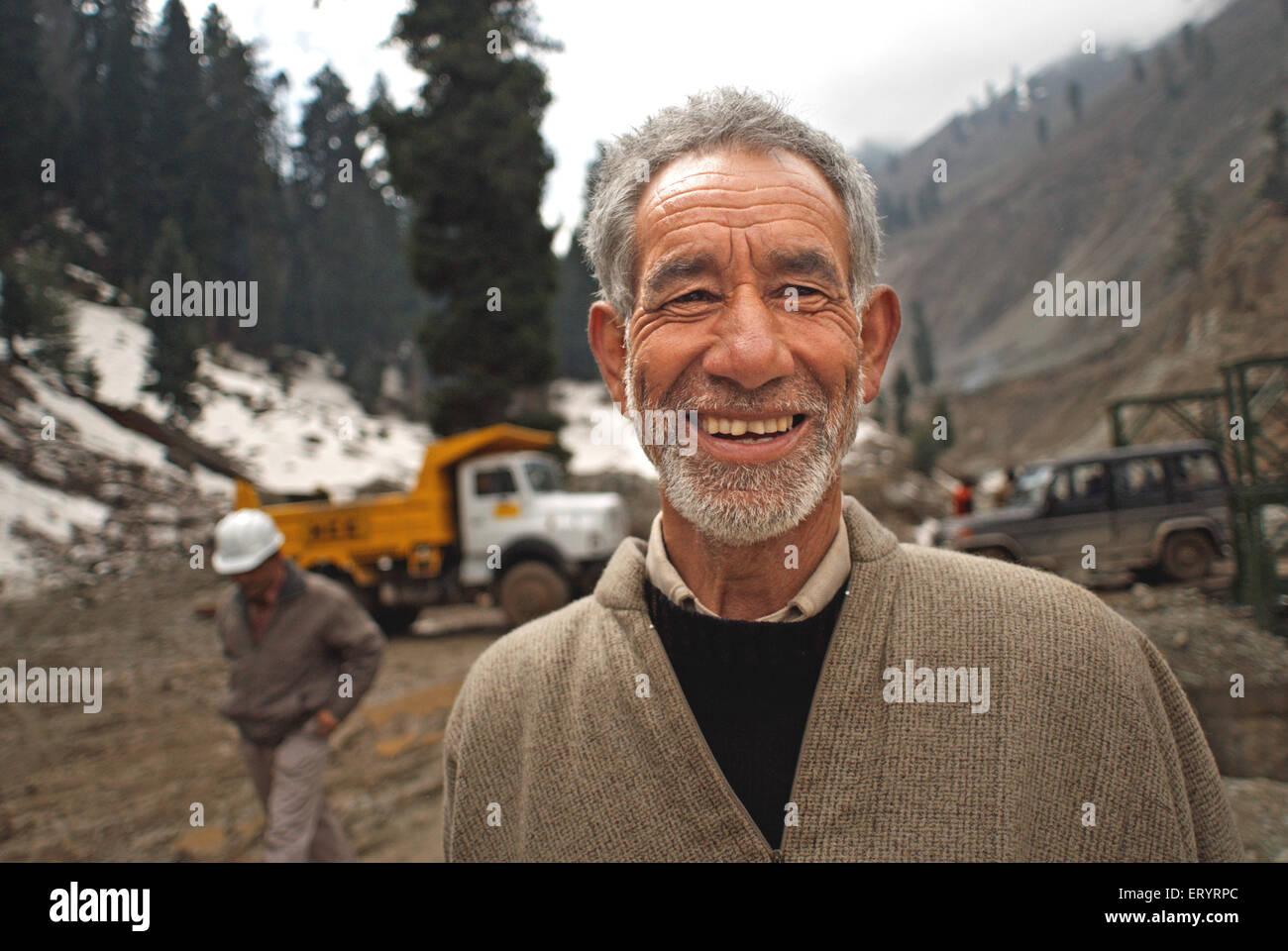 Wrinkle on face of kashmiri man ; Jammu and Kashmir ; India NO MR 8 April 2008 - Stock Image