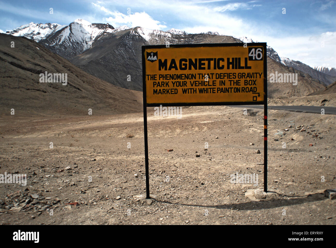 Signboard of magnetic hill ; Leh ; Ladakh ; Jammu and Kashmir ; India 9 April 2008 - Stock Image