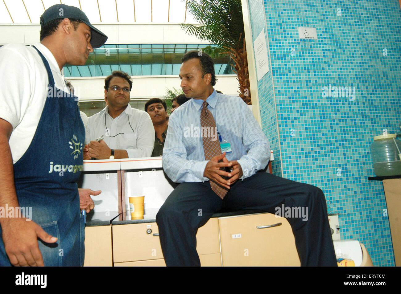 Anil Ambani Chairman of Anil Dhirubhai Ambani Group at headoffice of Reliance Infocomm ; New Bombay - Stock Image