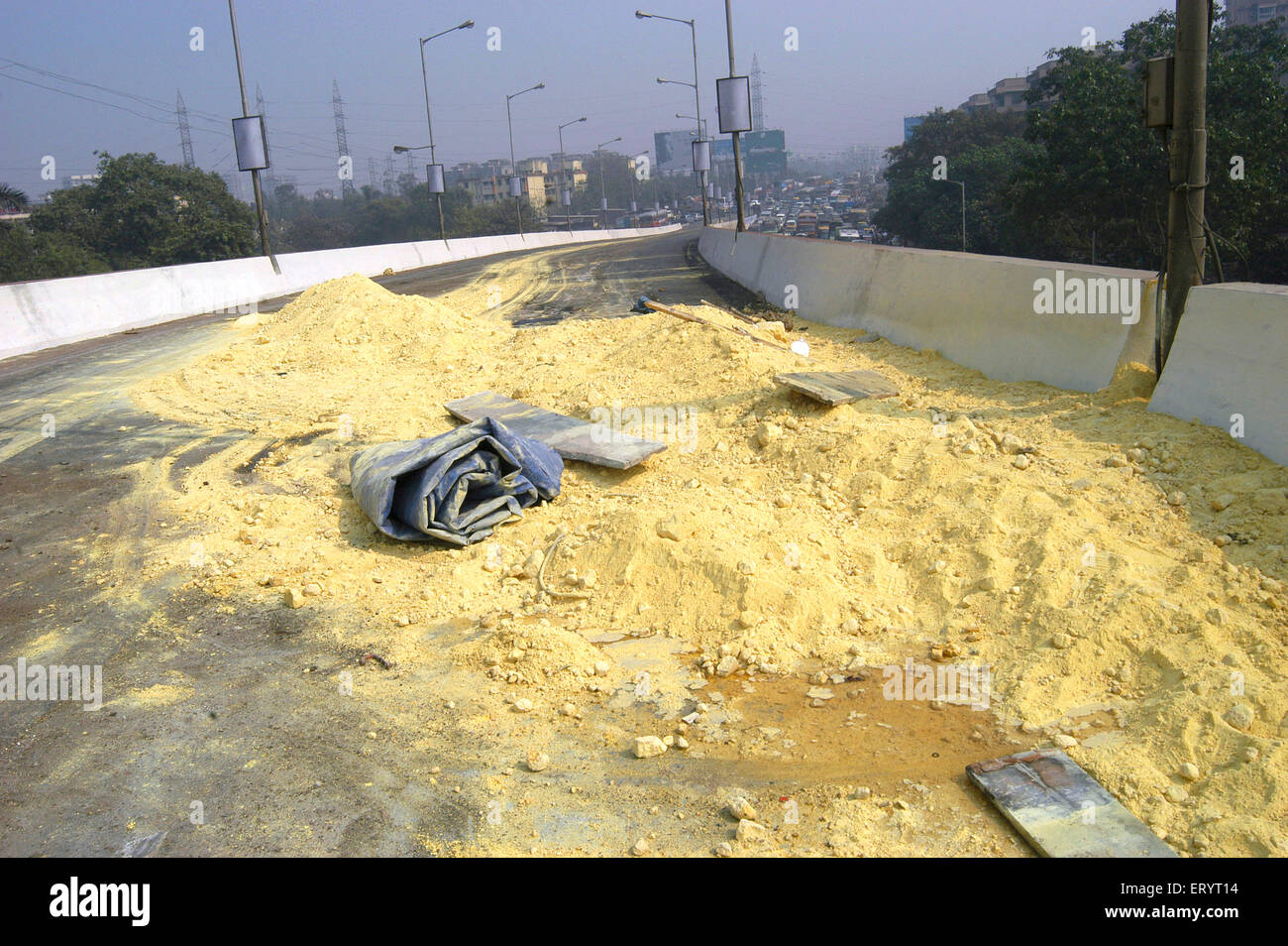 Chemical powder scattered on Sion flyover in Bombay Mumbai ; Maharashtra ; India - Stock Image