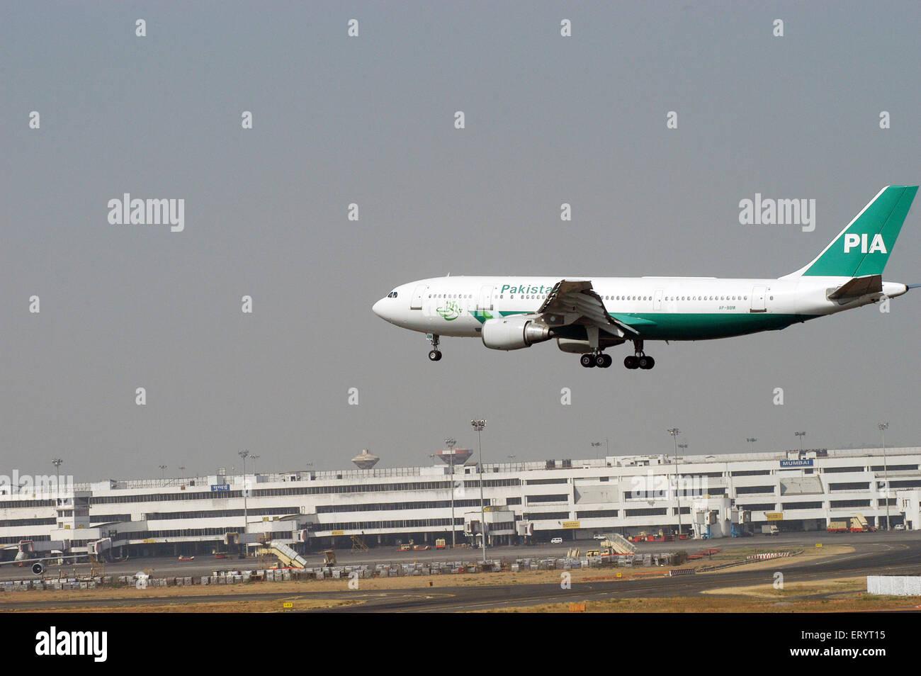 Pakistan international airline commercial plane landing at Sahar airport Chatrapati Shivaji International airport - Stock Image