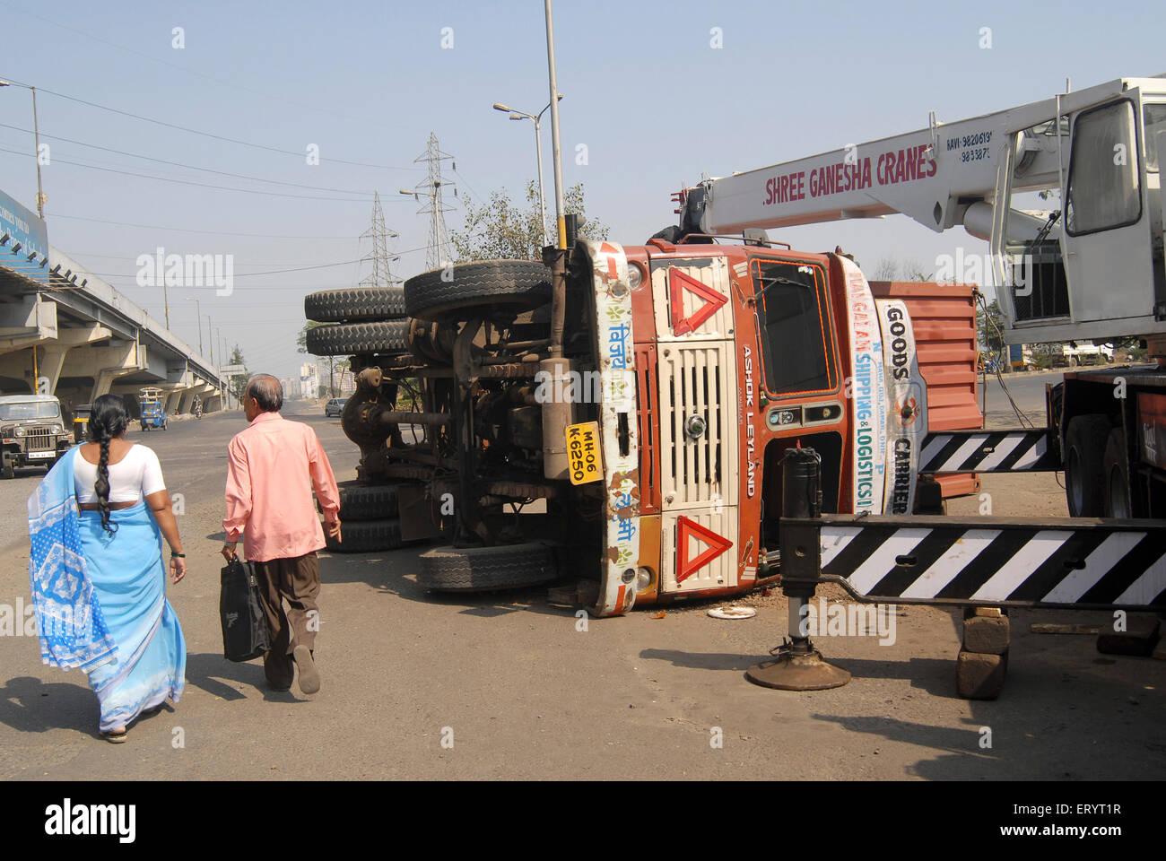 Truck accident on eastern express highway ; Bombay Mumbai ; Maharashtra ; India - Stock Image