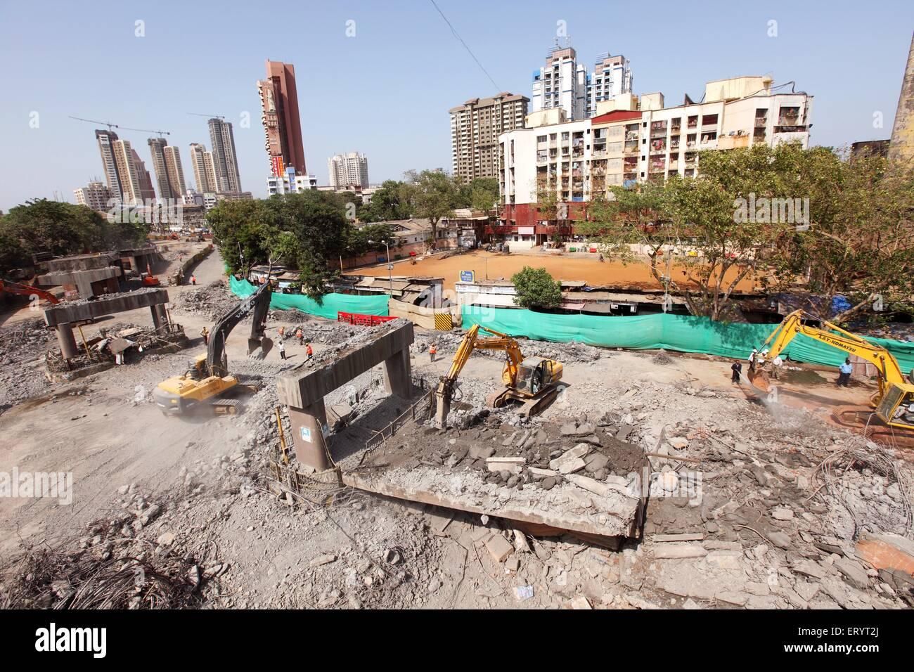 Sant dnyaneshwar flyover demolished at lalbaug ; Bombay Mumbai ; Maharashtra ; India - Stock Image