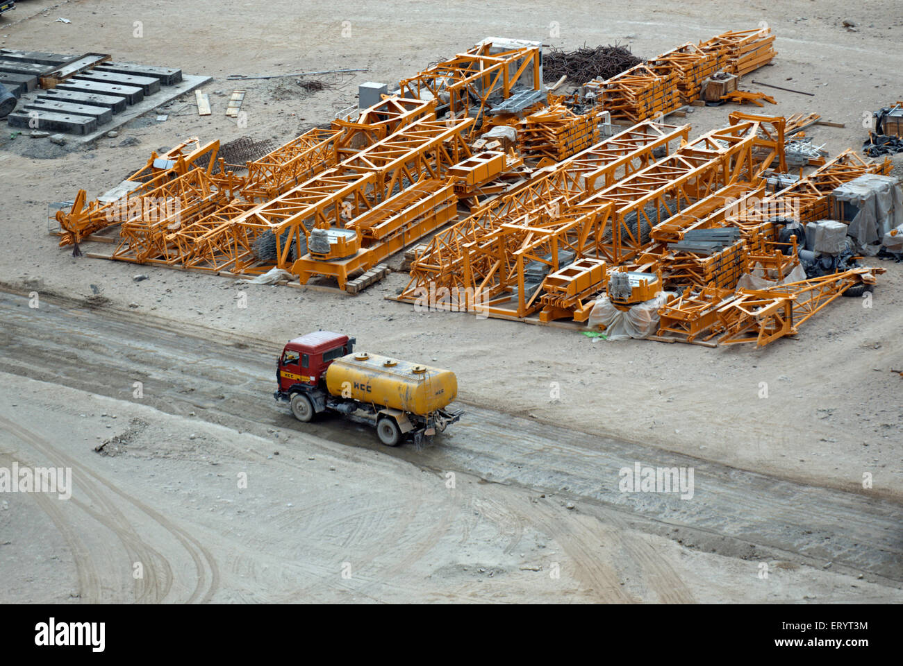 Oil tanker and heavy metal equipment at nimo bazgo hydraulic project ; Leh ; Ladakh ; Jammu and Kashmir ; India - Stock Image