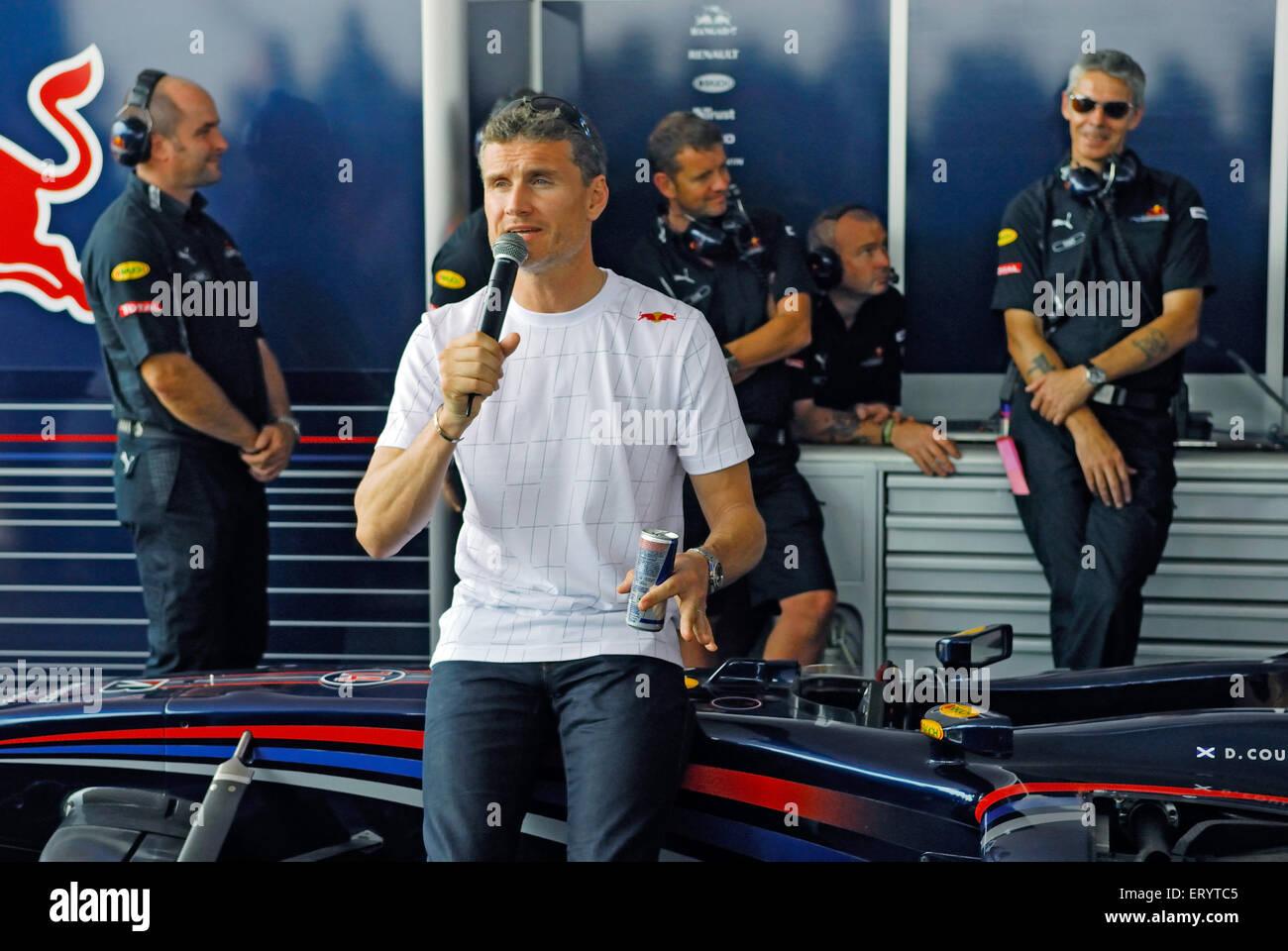 David coulthard british winning formula one race during press conference  Bombay Mumbai ; Maharashtra ; India NOMR - Stock Image