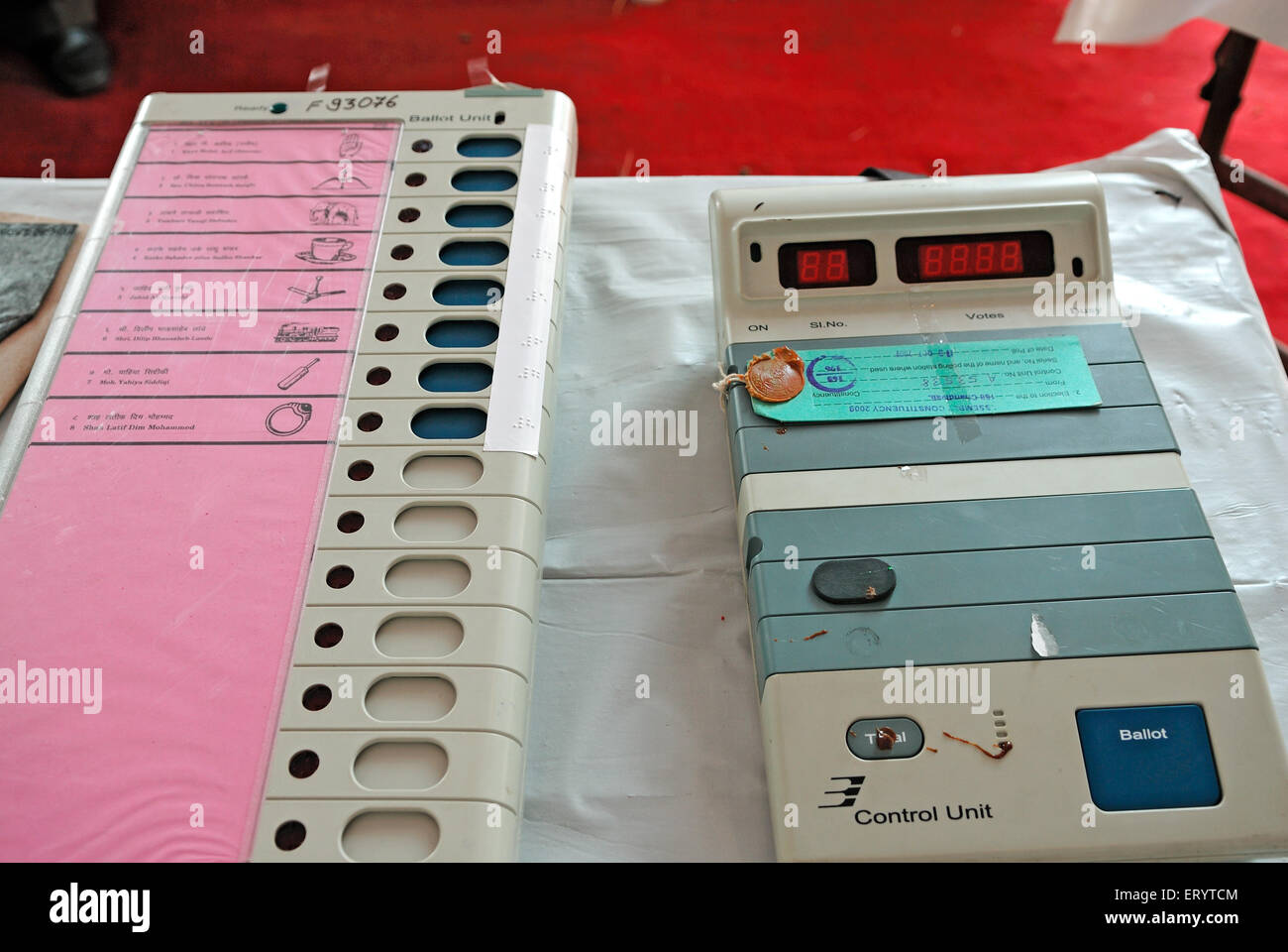 Electronic voting machine for Elections Bombay Mumbai Maharashtra India - Stock Image