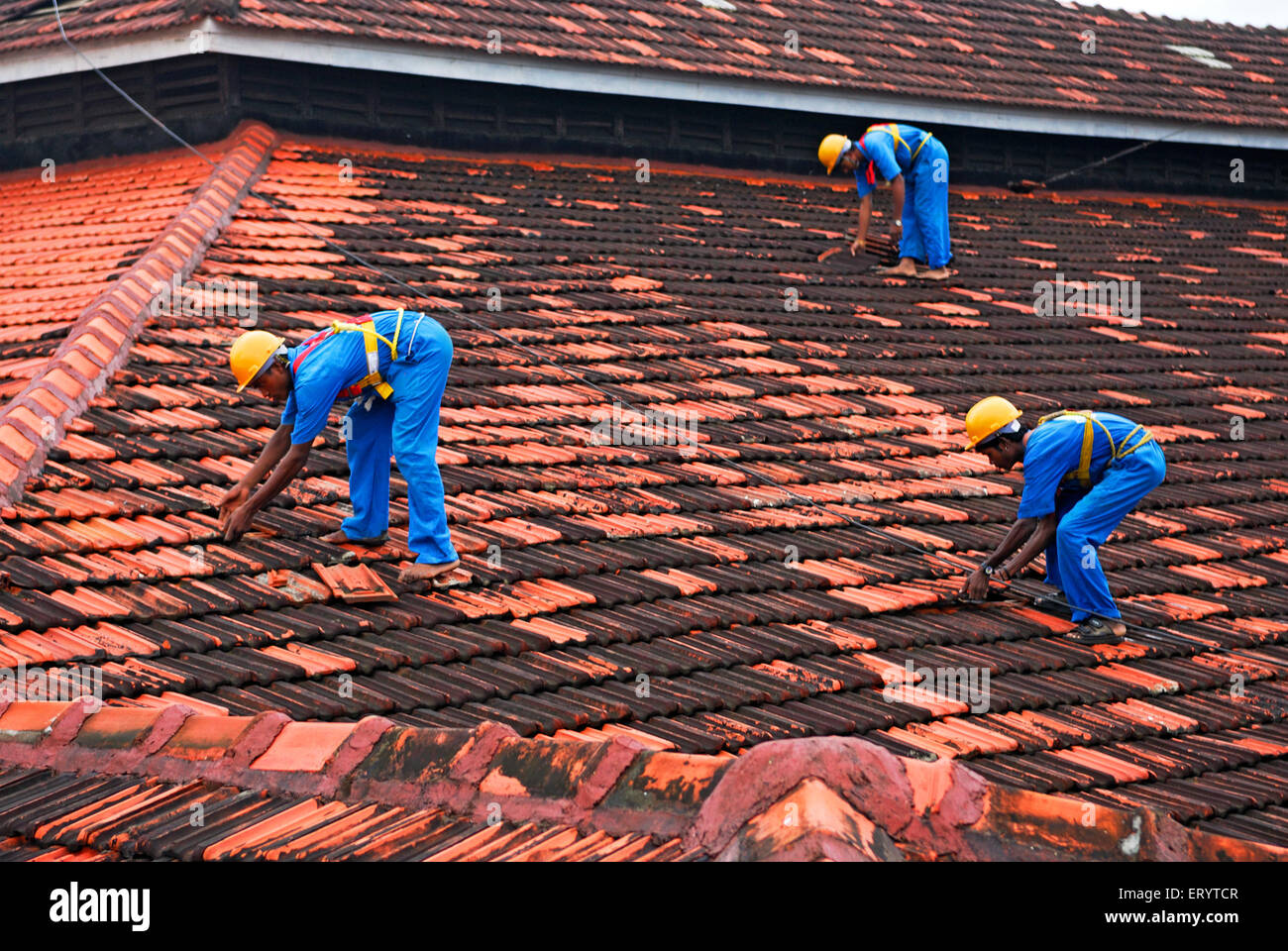 Mens working on rooftops Bombay Mumbai ; Maharashtra ; India NOMR - Stock Image