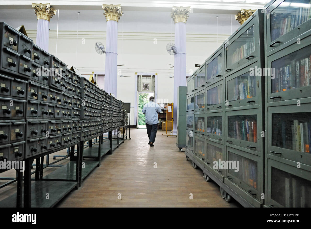 lockers and book shelves in town hall asiatic library Bombay Mumbai ; Maharashtra ; India - Stock Image