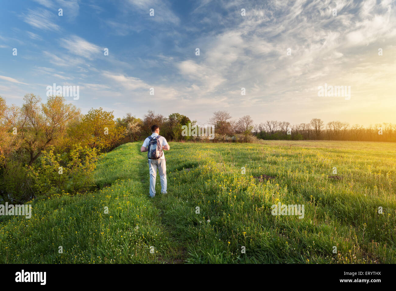 Beautiful sunset. Spring landscape with man on the field. Trees, blue sky and clouds - Stock Image
