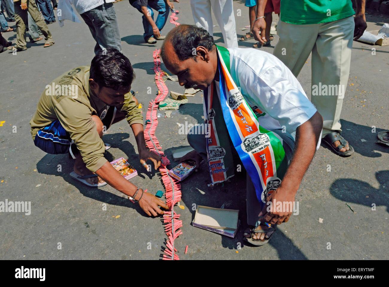 Maharashtra Navnirman Sena mns supporter celebrate Bombay ; Mumbai  ; Maharashtra  ; India NOMR - Stock Image