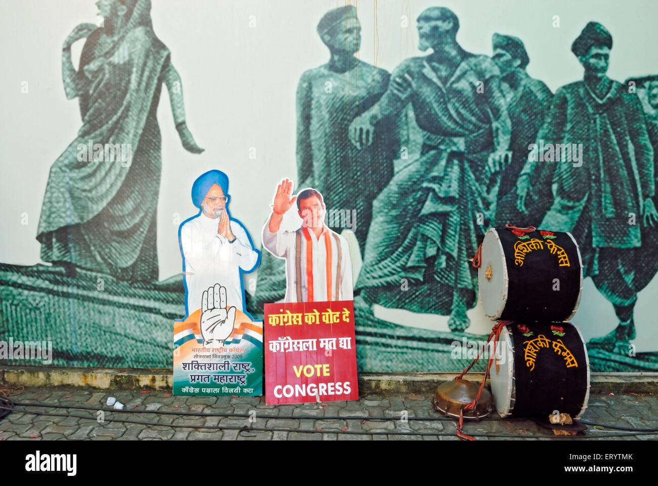 Prime Minister  Manmohan Singh and Rahul Gandhi's cutout at congress party office  Bombay ; Mumbai  ; Maharashtra - Stock Image