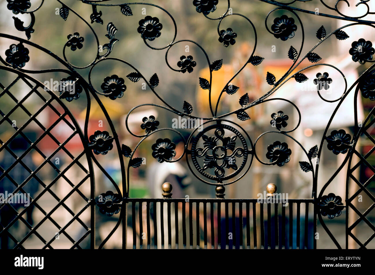 Miscellaneous wrought Iron gate ; West Bengal ; India - Stock Image
