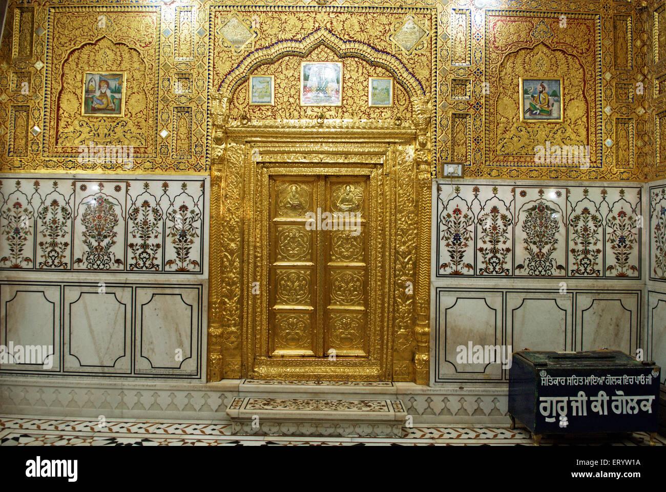 Embossed door and doorframe of Gurudwara of Sachkhand Sahib ; Nanded ; Maharashtra ; India - Stock Image