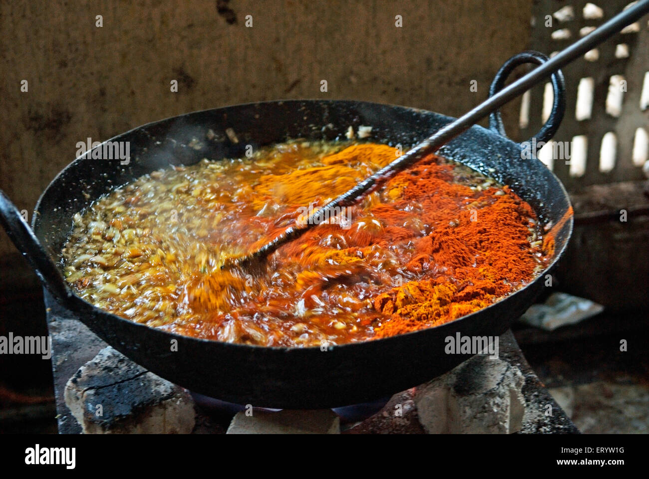Food preparation at Langar known as community kitchen during celebrations Guru Granth Sahib Nanded  ; Maharashtra - Stock Image