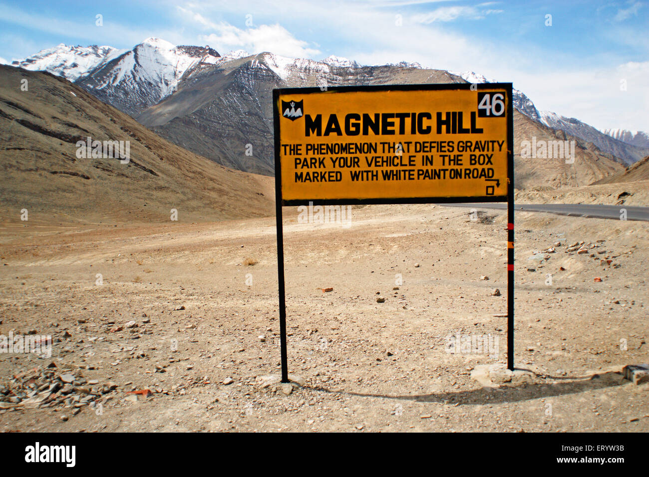 Sign board of Magnetic Hill ;  Leh ; Ladakh  ; Jammu and Kashmir  ; India - Stock Image