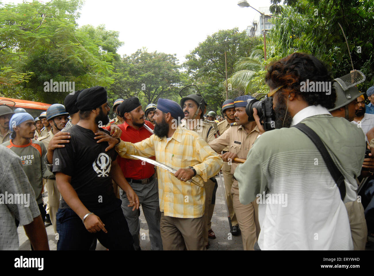 Sikh community protest against firing bodyguard of dera saccha sauda chief ram rahim at Mulund in Bombay Mumbai - Stock Image