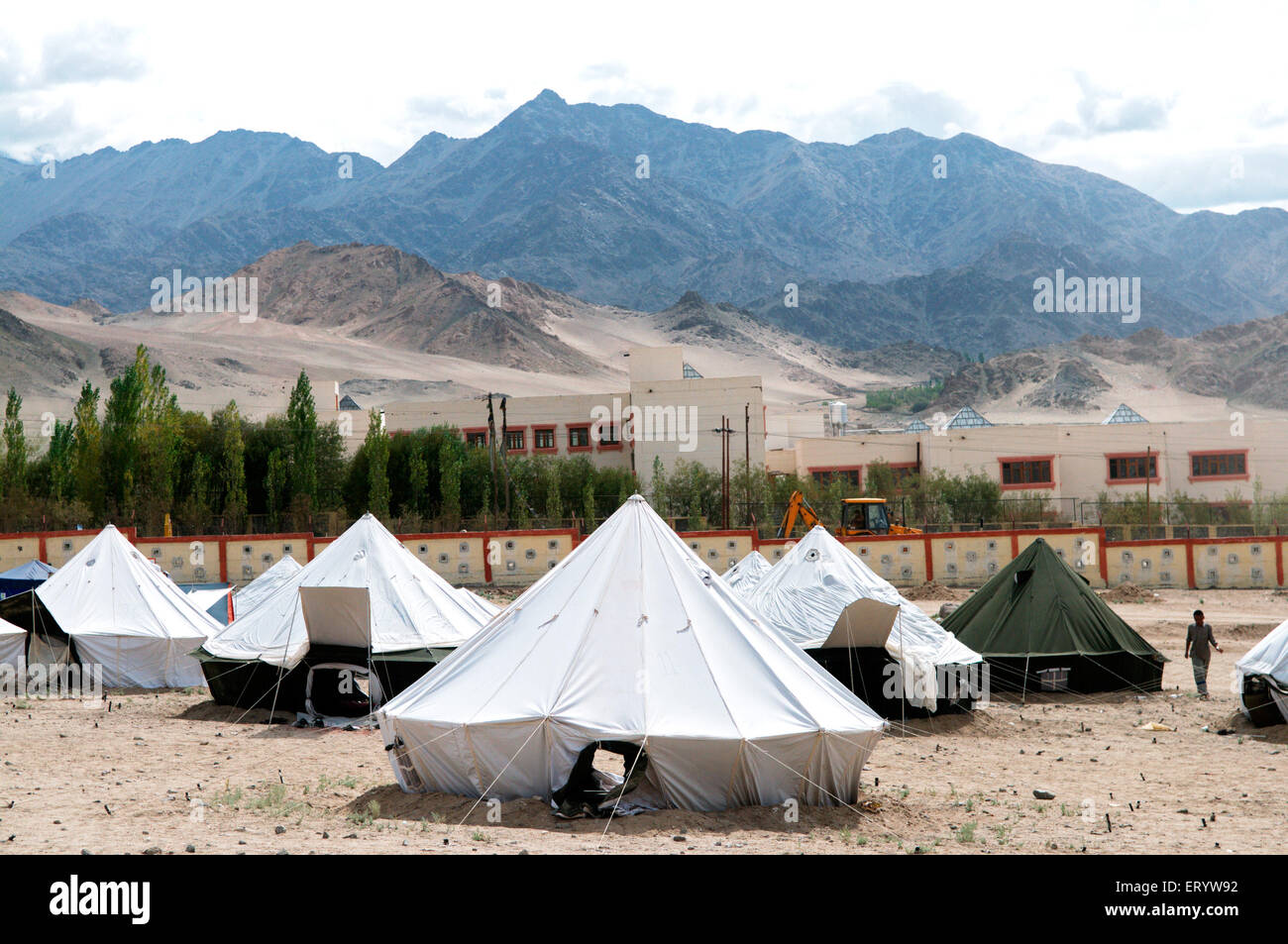 Victims relief camp in choglamsar due to flashflood ; Leh ; Ladakh ; Jammu and Kashmir ; India - Stock Image