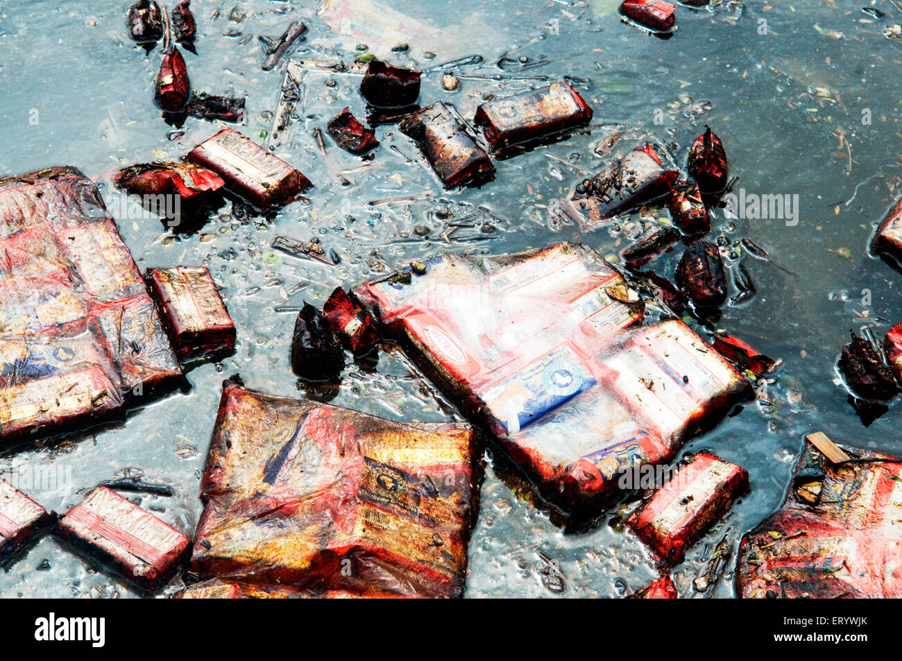 Oil soaked biscuit packets floating due to container ship chitra colliding in sea Bombay Mumbai ; Maharashtra ; - Stock Image