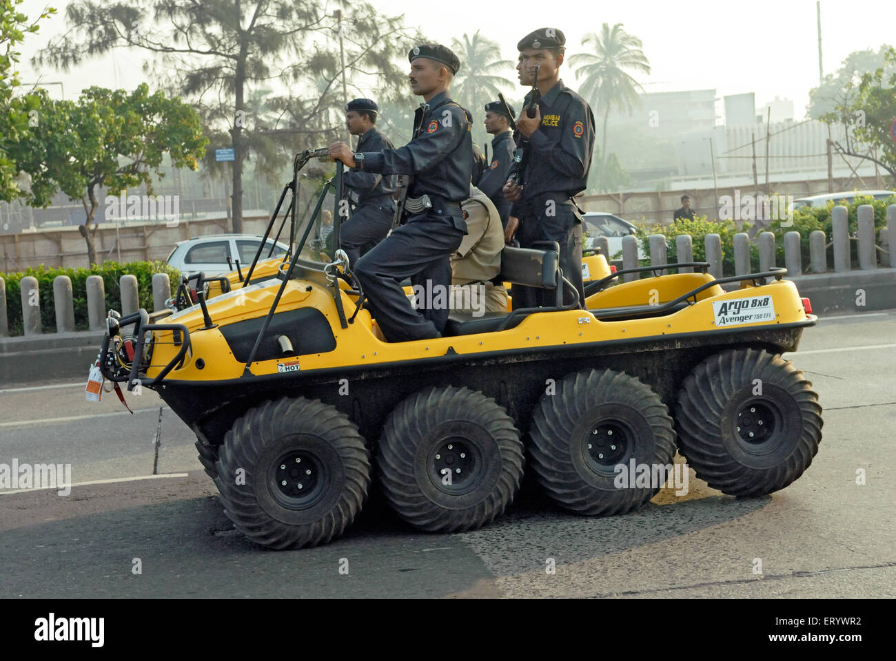 Mumbai police commandos in eight wheel amphibious vehicle at marine drive  ; Bombay ; Mumbai ; Maharashtra  ; India - Stock Image