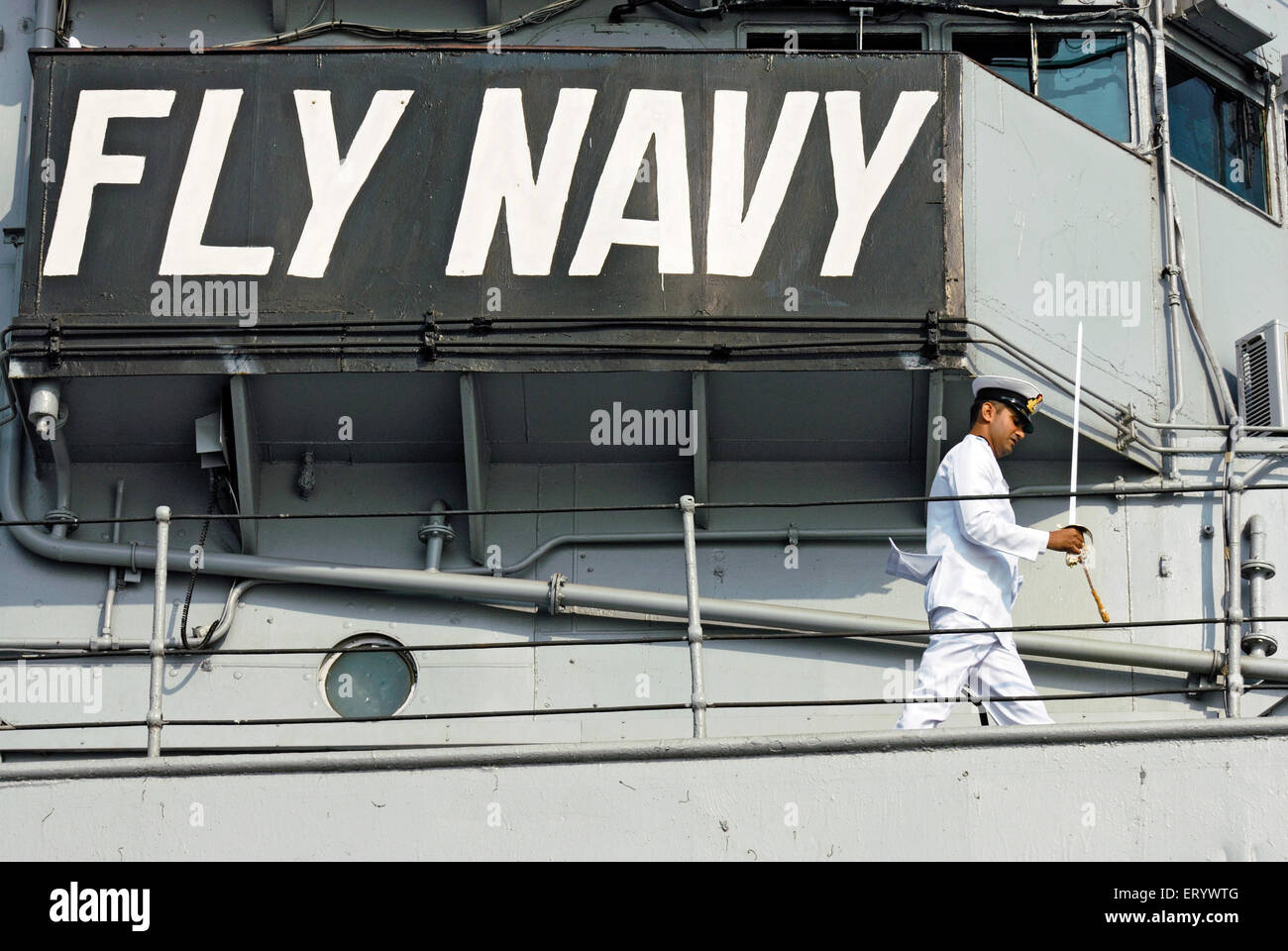 Fly navy slogan written on INS viraat R22 indian navy ; Bombay ; Mumbai ; Maharashtra ; India NOMR - Stock Image