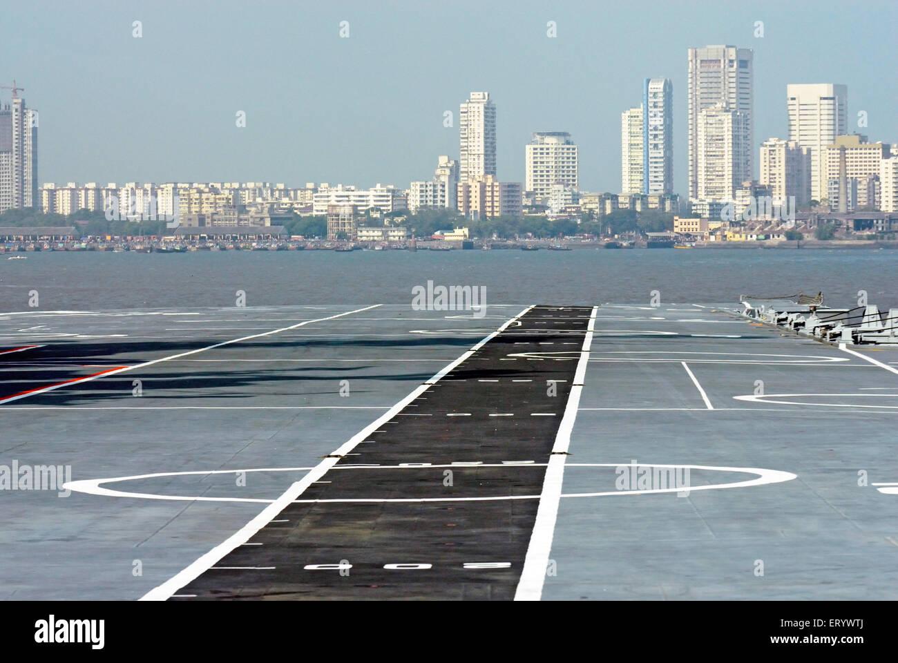 Flight deck of aircraft carrier INS viraat R22 indian navy ; Bombay ; Mumbai ; Maharashtra ; India - Stock Image