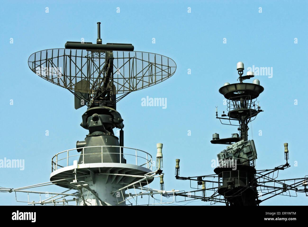 Advance radar system on flight deck of INS viraat R22 indian navy ; Bombay ; Mumbai ; Maharashtra ; India - Stock Image