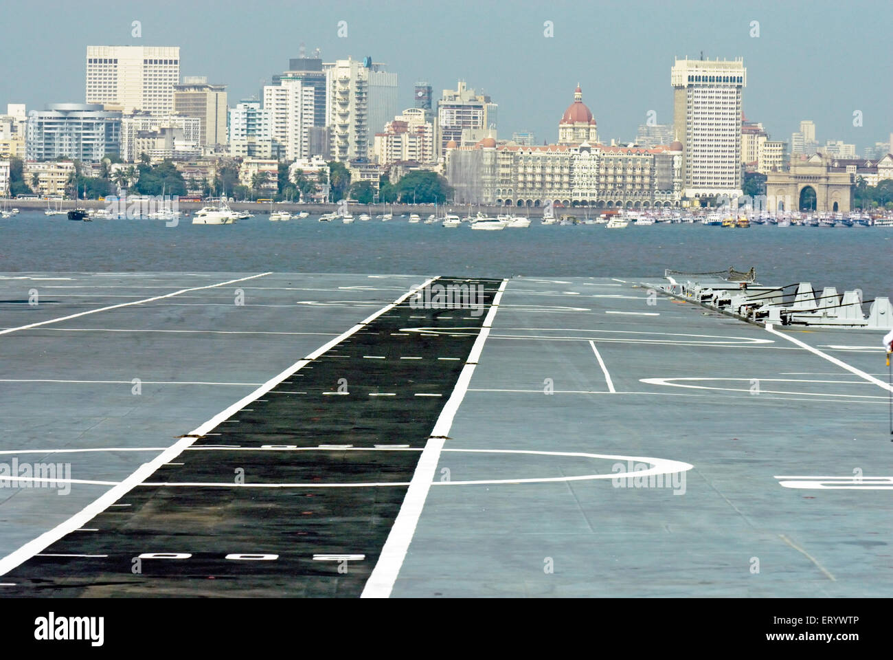 Flight deck of aircraft carrier INS viraat R22 indian navy ; Bombay ; Mumbai ; Maharashtra ; India - Stock Image