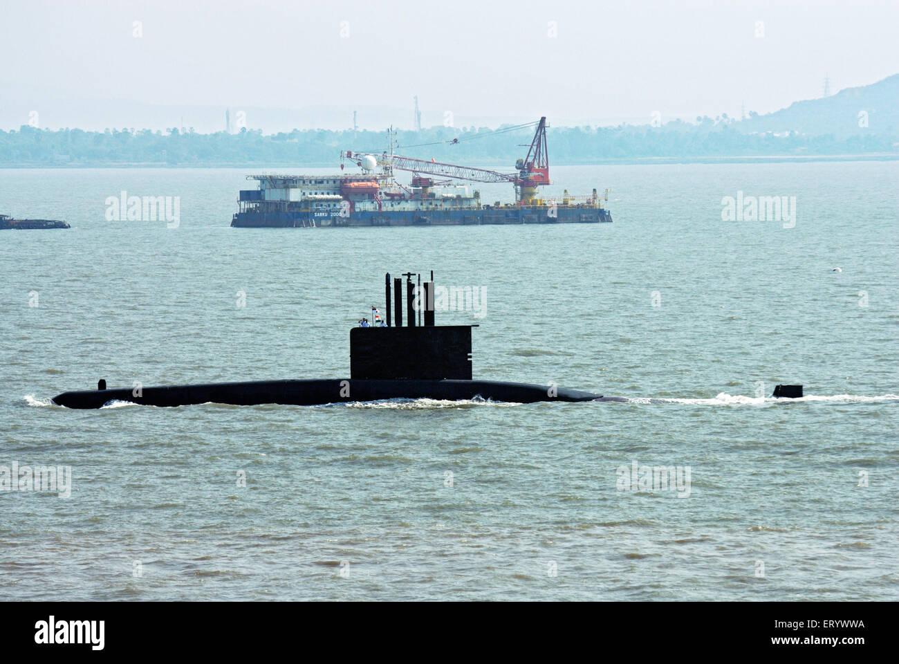Indian navy officer on the deck of submarine ; Bombay ; Mumbai ; Maharashtra ; India - Stock Image