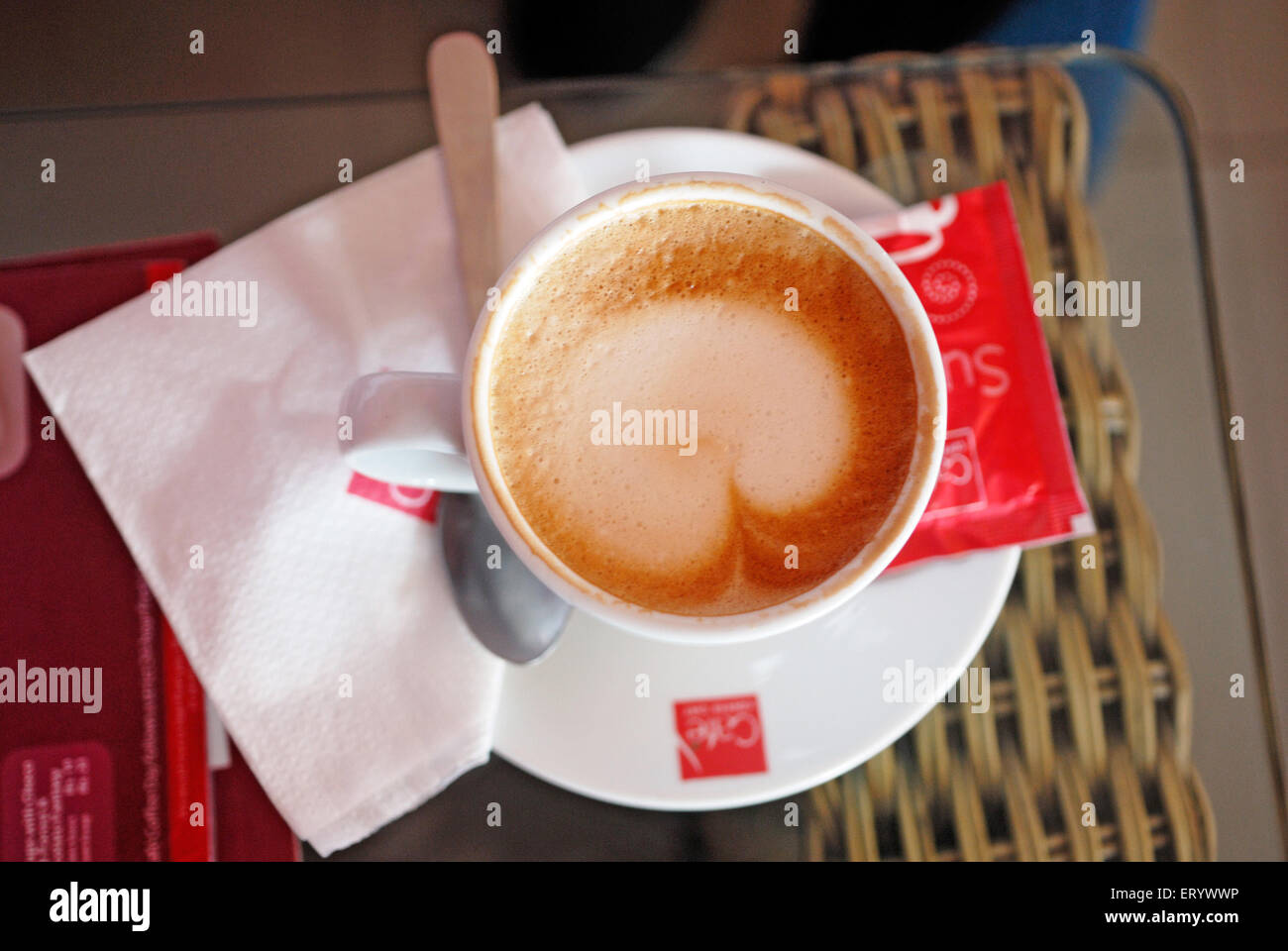 Heart shape froth on coffee ; Bombay ; Mumbai ; Maharashtra ; India - Stock Image