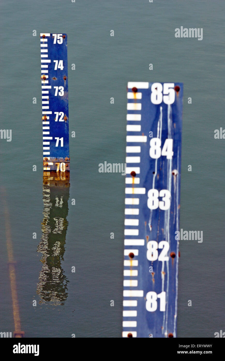 The water level marks in vaitarna lake ; Bombay ; Mumbai ; Maharashtra ; India - Stock Image