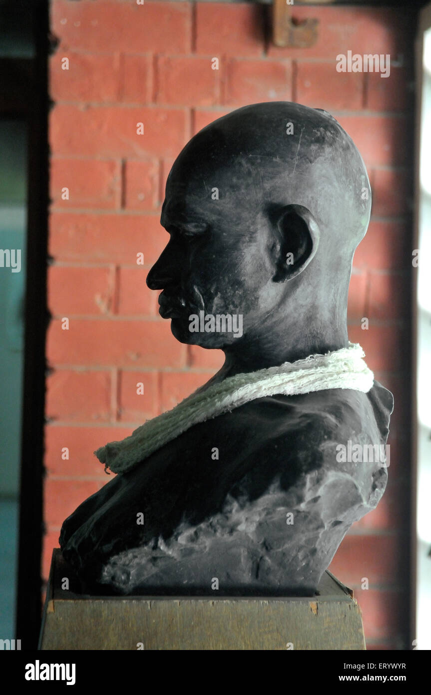Statue of mahatma gandhi at sabarmati ashram ; Ahmedabad ; Gujarat ; India - Stock Image