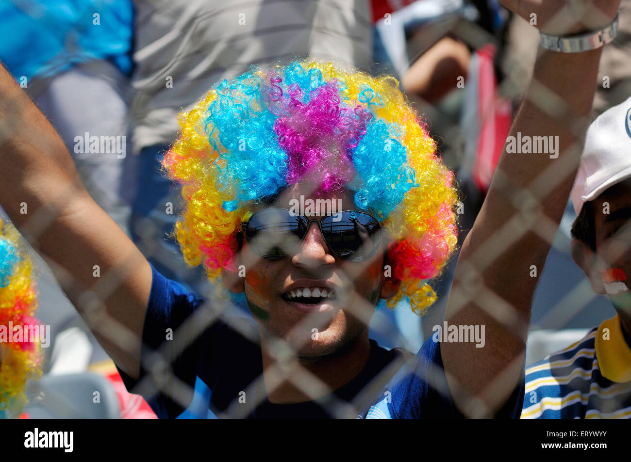 Indian fans ICC Cricket World Cup finals against Sri Lanka played at the Wankhede stadium Mumbai - Stock Image
