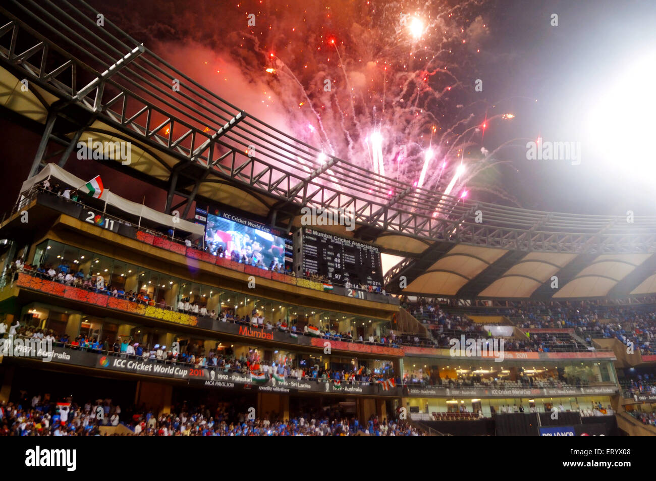 Fire crackers busted defeated Sri Lanka ICC Cricket World Cup 2011 final match Wankhede Stadium Mumbai India - Stock Image