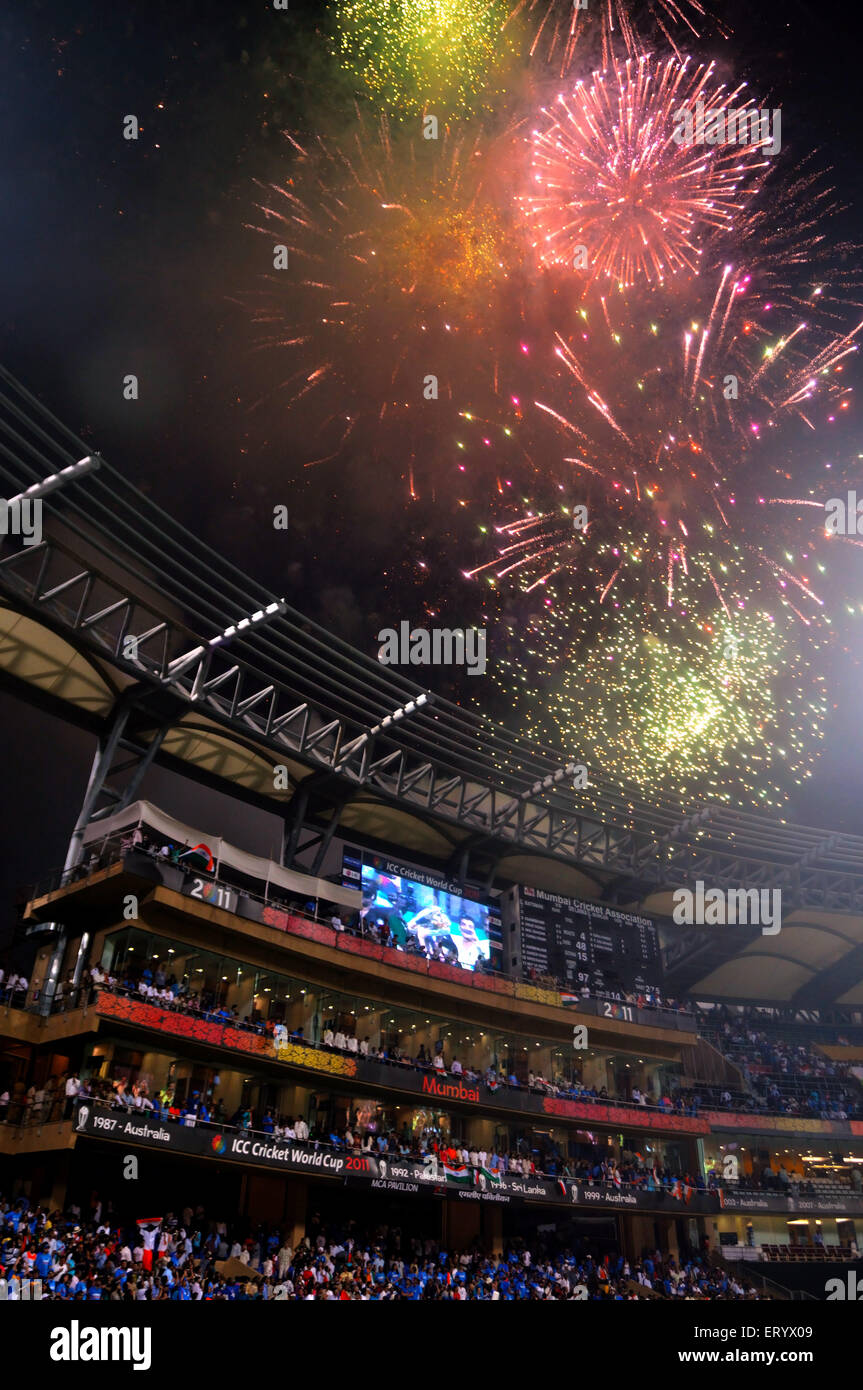 Fire crackers busted defeated Sri Lanka ICC Cricket World Cup 2011 final match Wankhede Stadium Mumbai - Stock Image