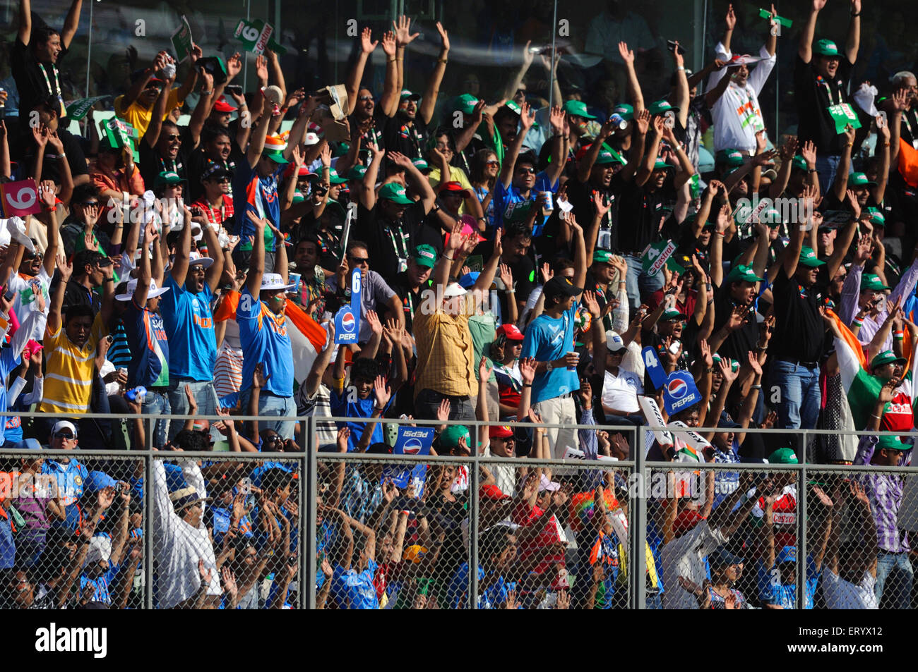 fans Mexican wave ICC Cricket World Cup finals Sri Lanka played Wankhede stadium Mumbai - Stock Image