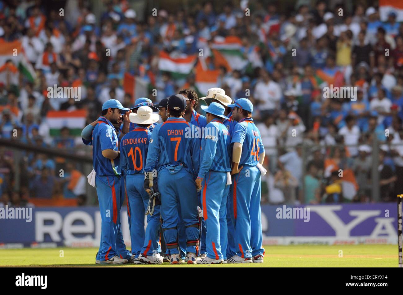 cricket team ICC Cricket World Cup finals against Sri Lanka played Wankhede stadium Mumbai - Stock Image