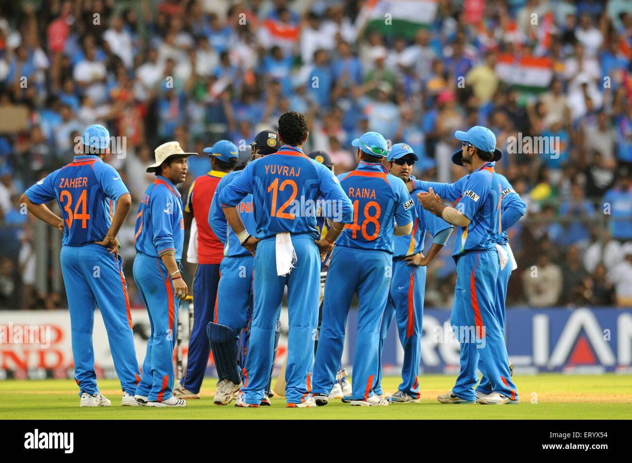 cricket team during ICC Cricket World Cup finals against Sri Lanka being played at the Wankhede stadium in Mumbai - Stock Image