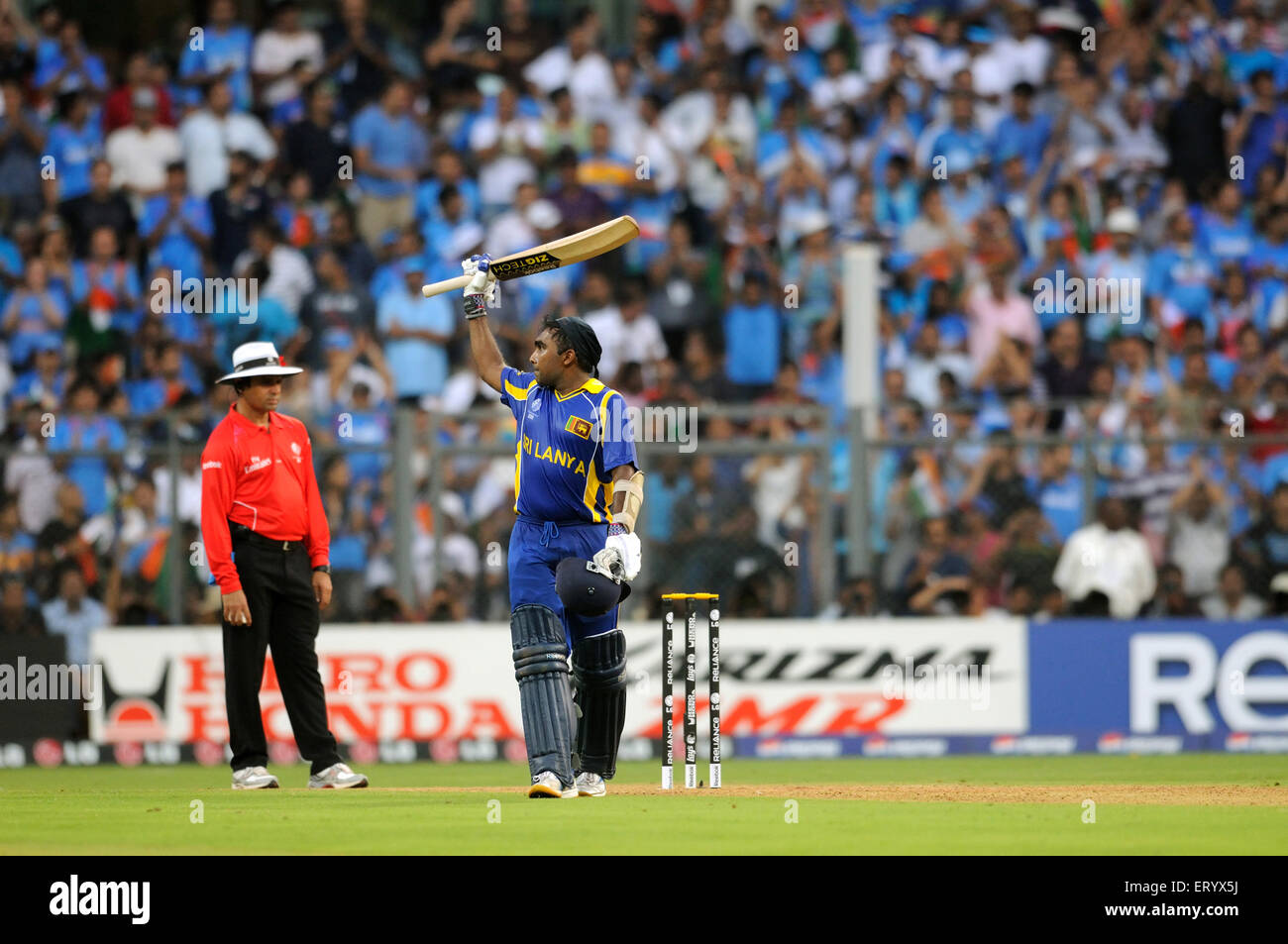 Sri Lankan batsman Mahela Jaywerdena celebrates reaching century ICC Cricket World Cup finals Wankhede stadium Mumbai - Stock Image