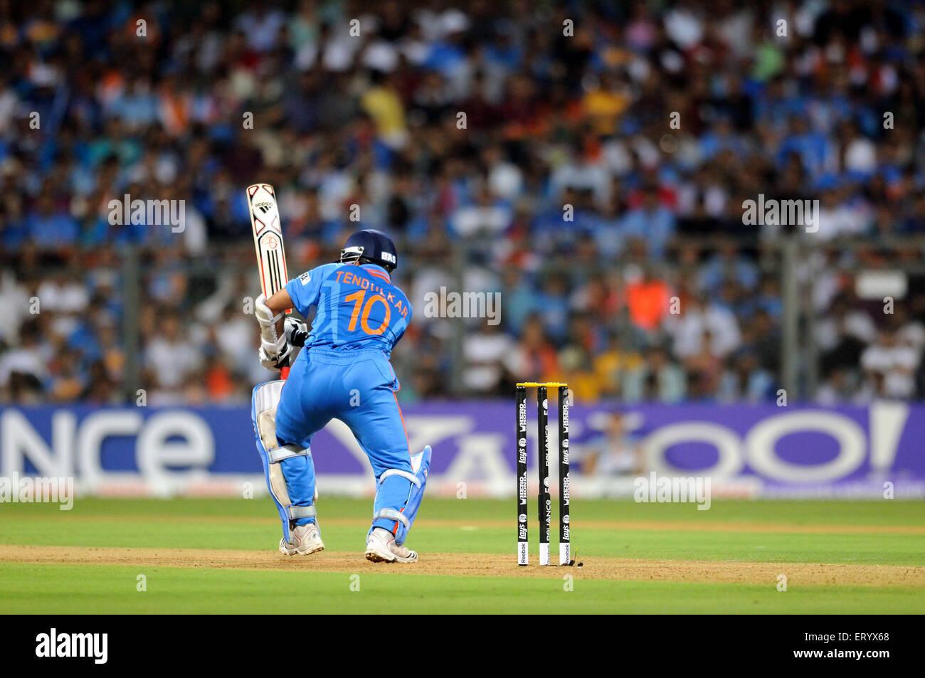 batsman Sachin Tendulkar 2011 ICC World Cup Final Sri Lanka Wankhede Stadium Mumbai - Stock Image