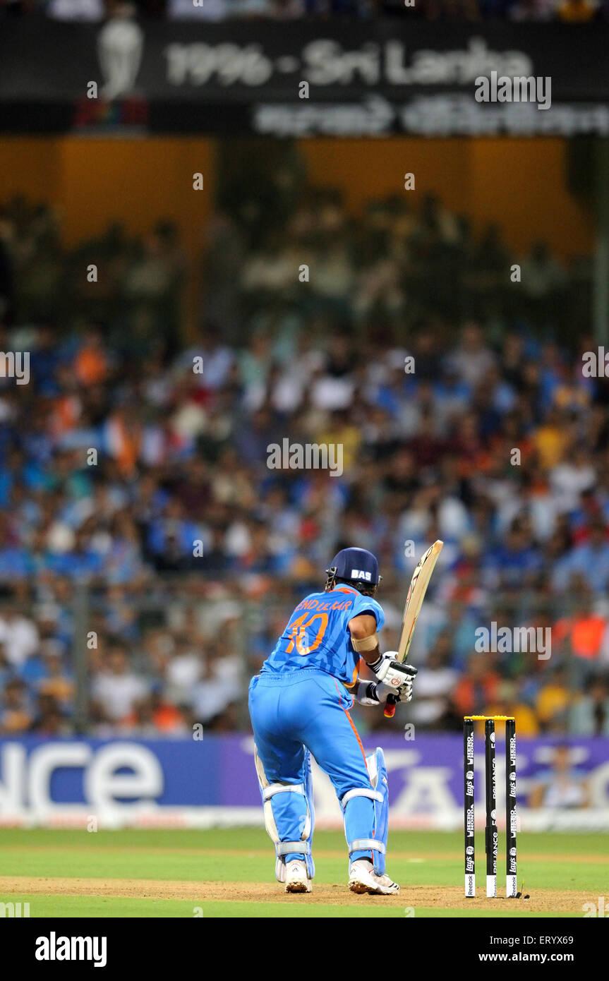 batsman Sachin Tendulkar 2011 ICC World Cup Final Sri Lanka at Wankhede Stadium Mumbai - Stock Image