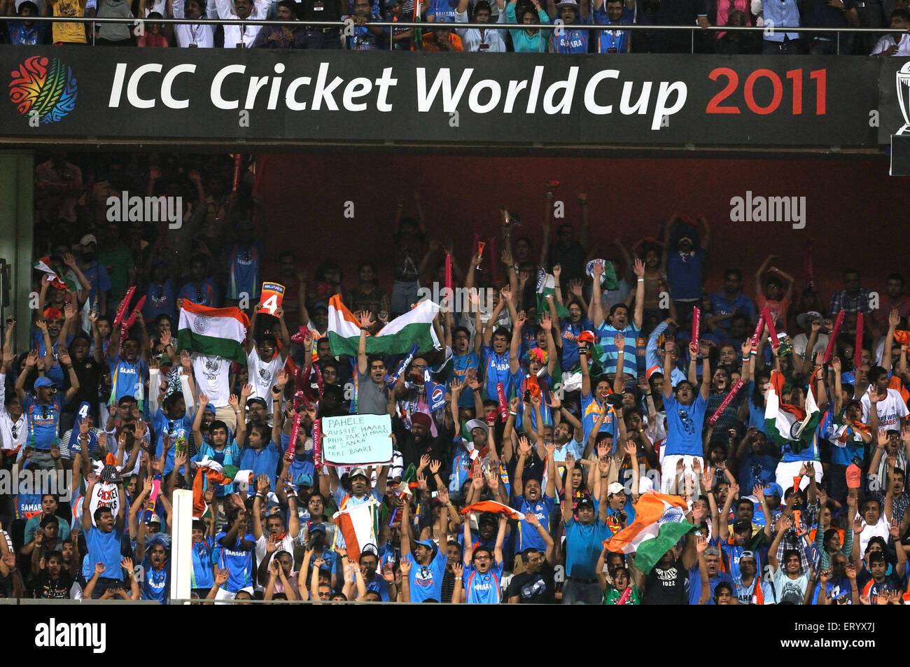 Indian fans  Mexican wave 2011 ICC World Cup Final India and Sri Lanka at Wankhede Stadium Mumbai - Stock Image