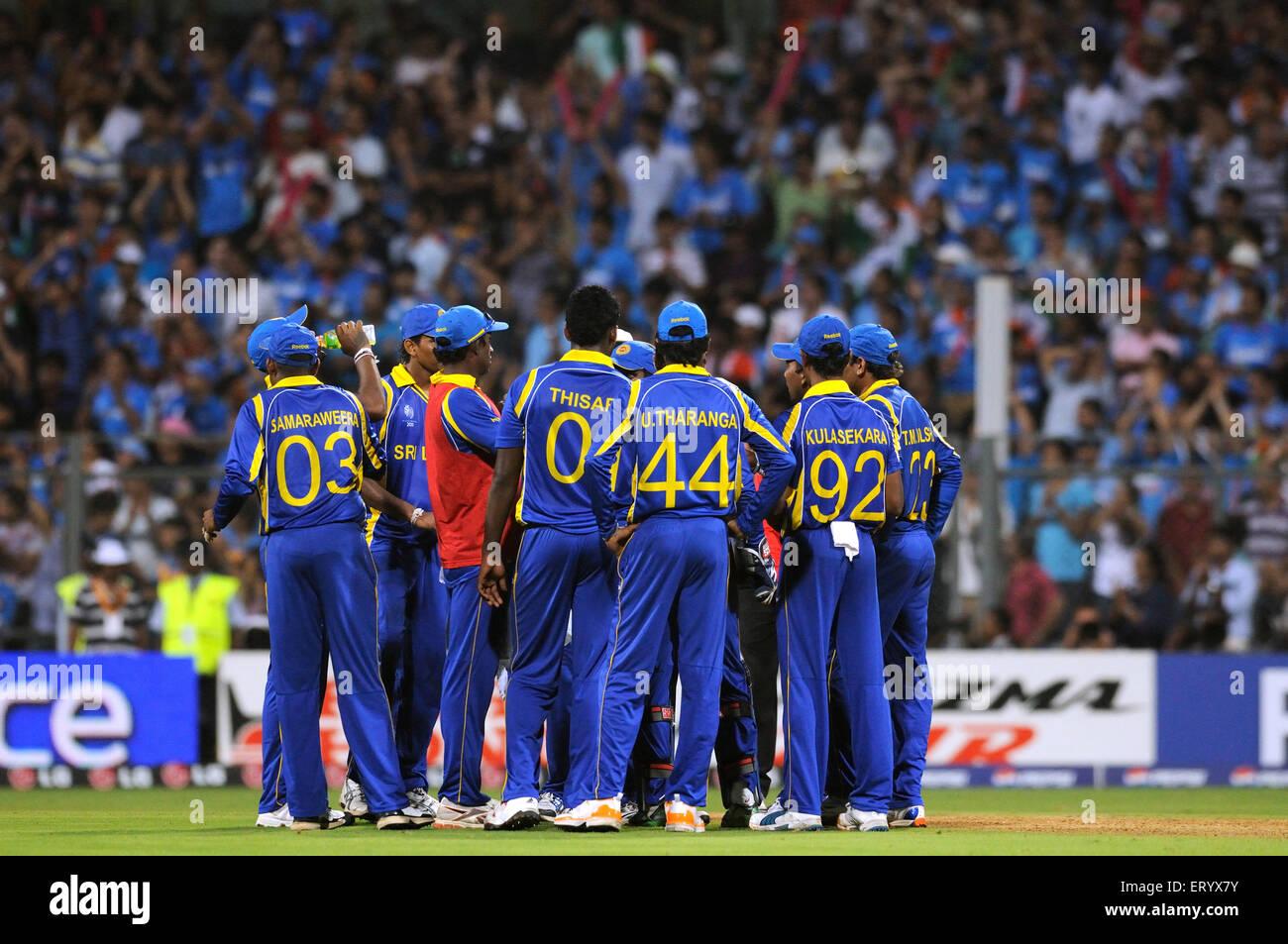 Sri Lankan team members 2011 ICC World Cup Final India Sri Lanka Wankhede Stadium Mumbai - Stock Image