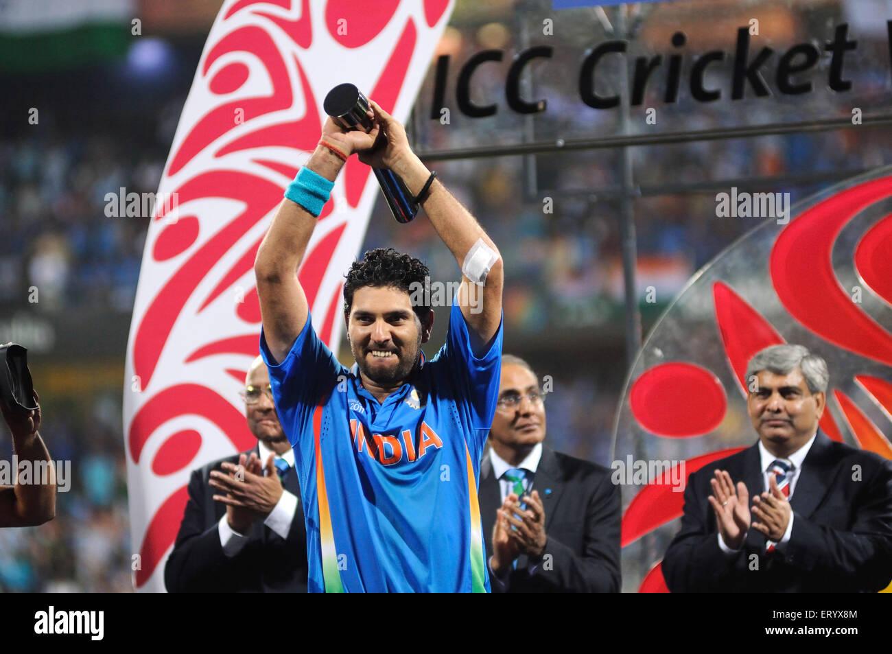 cricketer Yuvraj Singh receiving Man Tournament trophy Lanka ICC Cricket World Cup 2011 final played Wankhede Stadium - Stock Image
