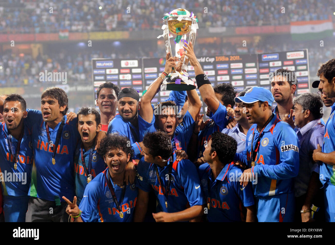 indian cricketers celebrate icc world cup trophy beating icc cricket