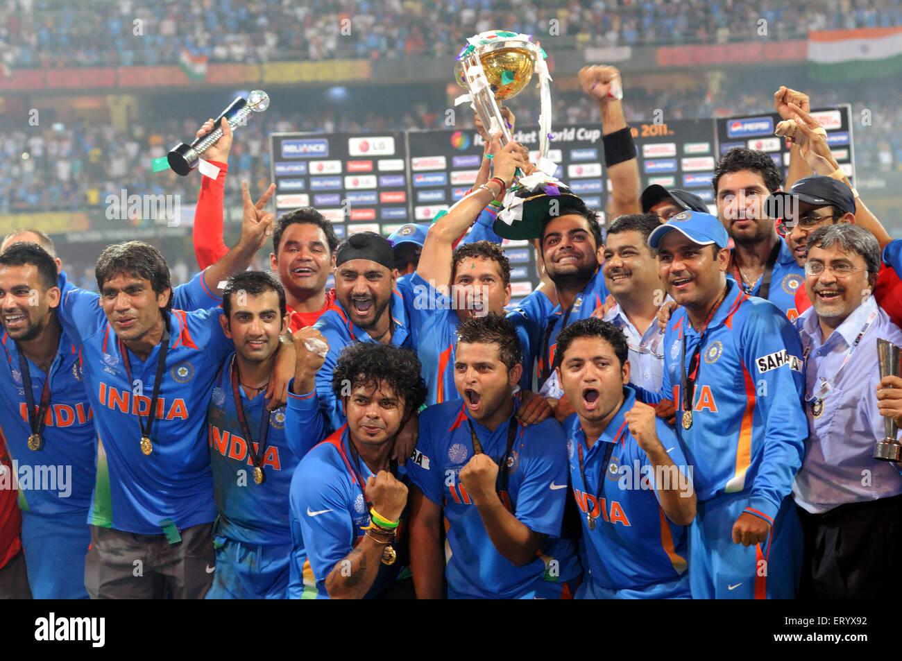 Cricketers Celebrate ICC World Cup Trophy Beating Cricket 2011 Wankhede Stadium Mumbai India