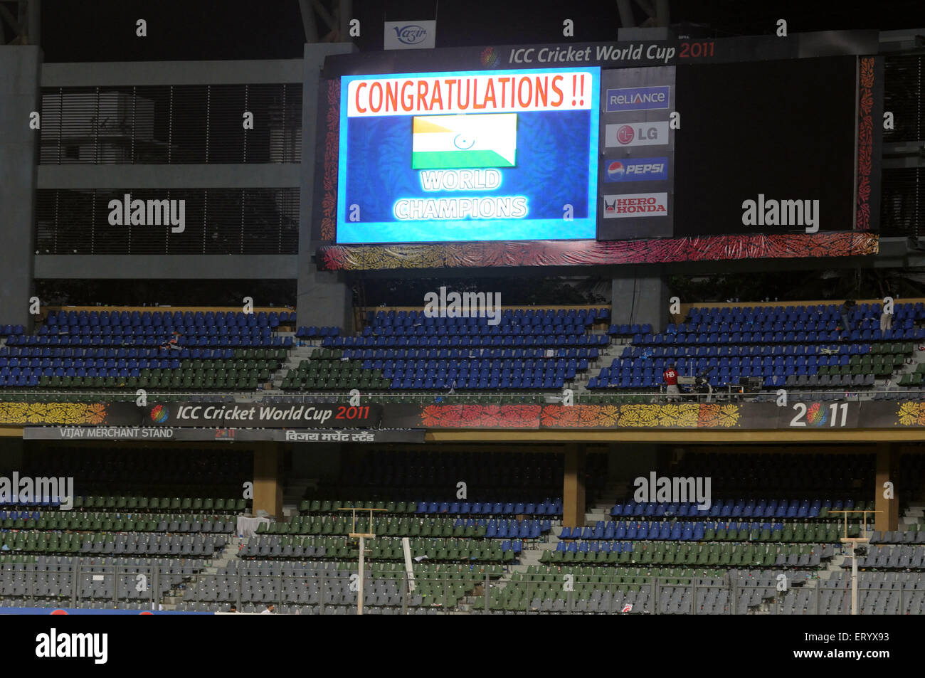 Giant LCD empty stand Wankhede stadium displays tricolour ICC Cricket World Cup 2011 final match Wankhede Stadium - Stock Image