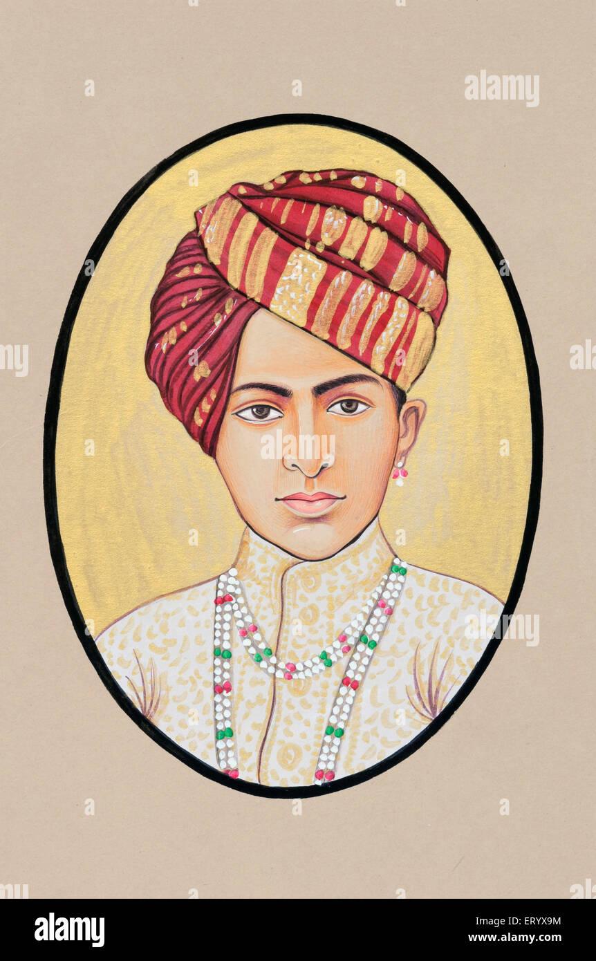 Miniature painting of maharaja jai singh Alwar 1892 - Stock Image